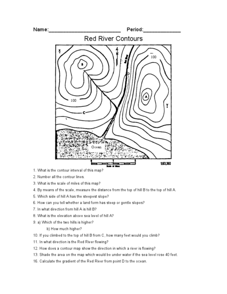 Pictures Reading A Topographic Map Worksheet