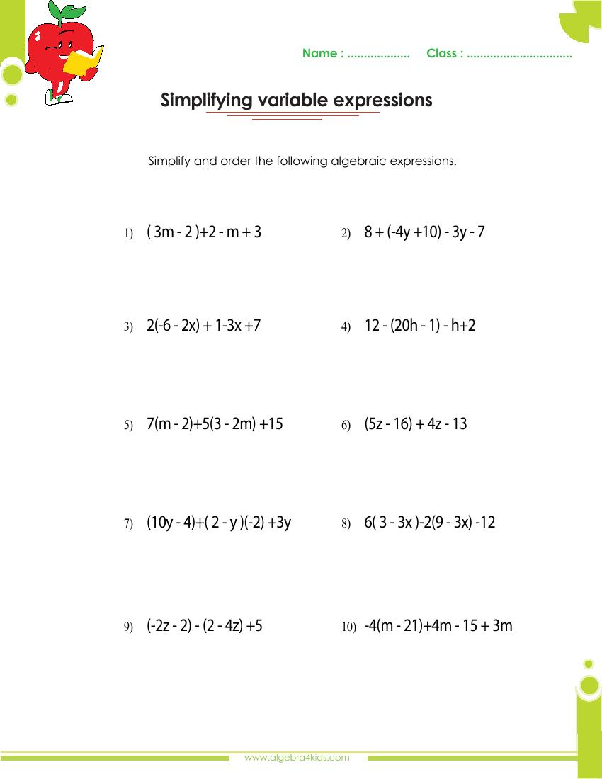 Polynomials Worksheets With Answers And Operations