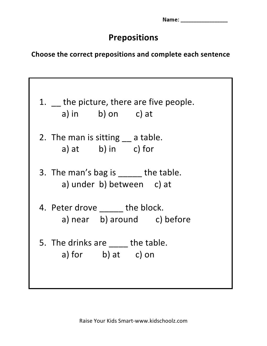 Prepositions Worksheets For Grade 2 Worksheets For All