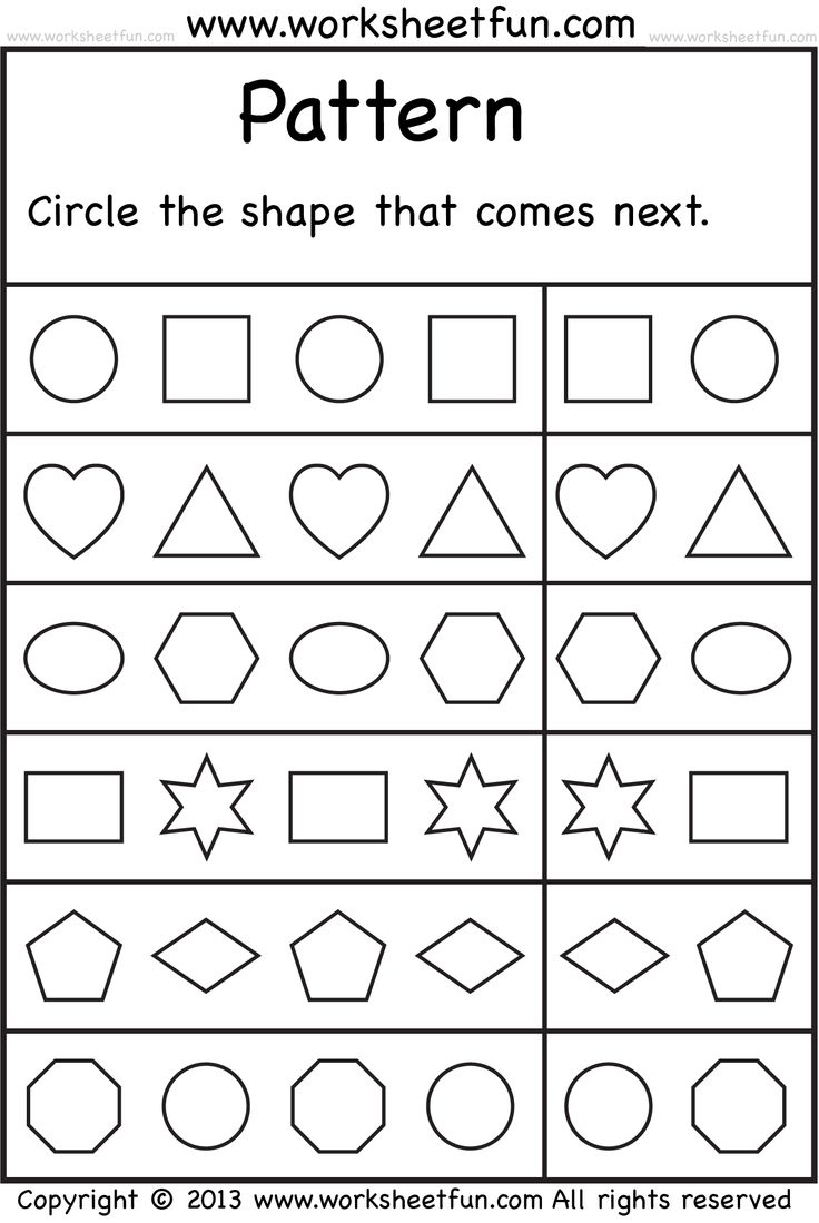 Preschool Pattern Worksheet Worksheets For All