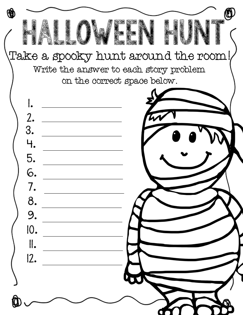 Printable Math Sheet For Halloween Worksheets For All