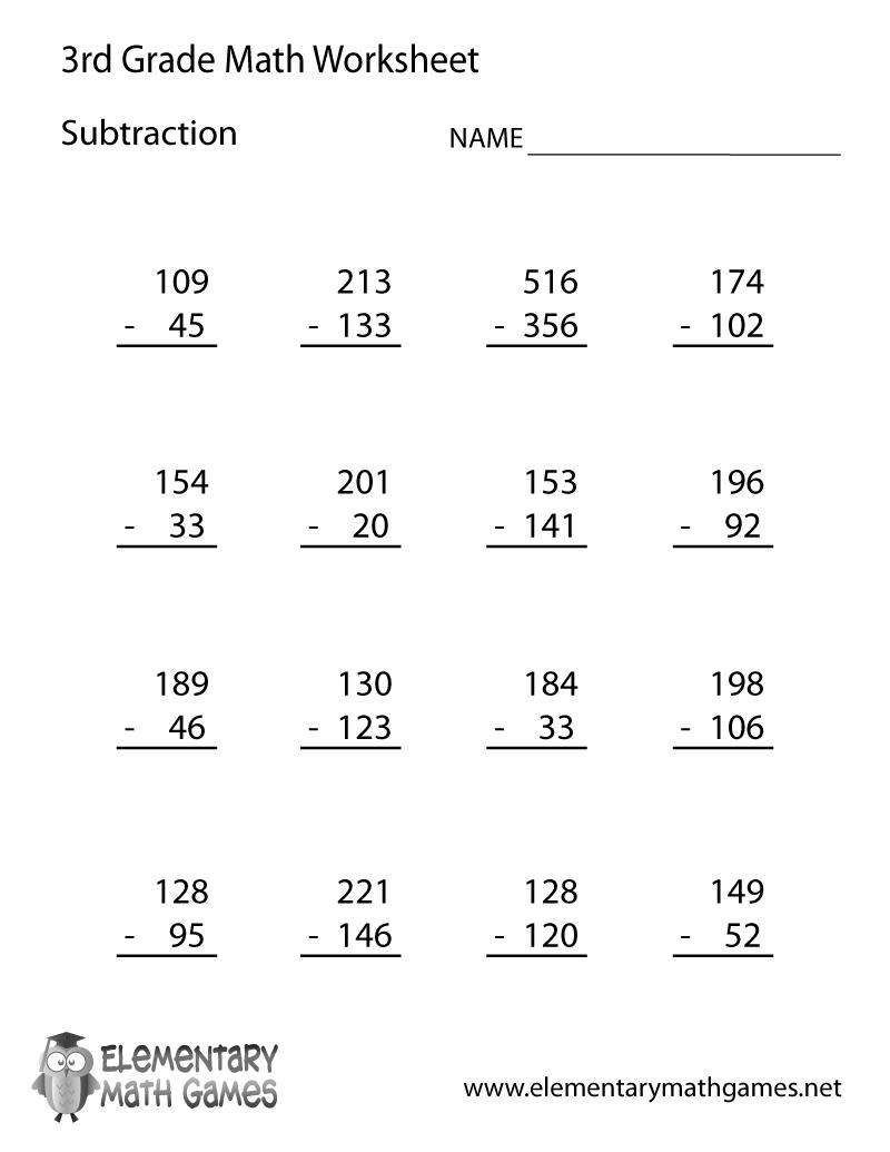 Printable Math Worksheets For 3rd Grade Worksheets For All