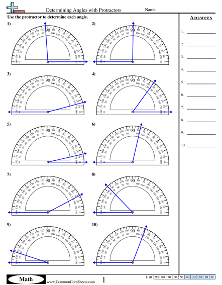 Protractor Practice Worksheets Worksheets For All