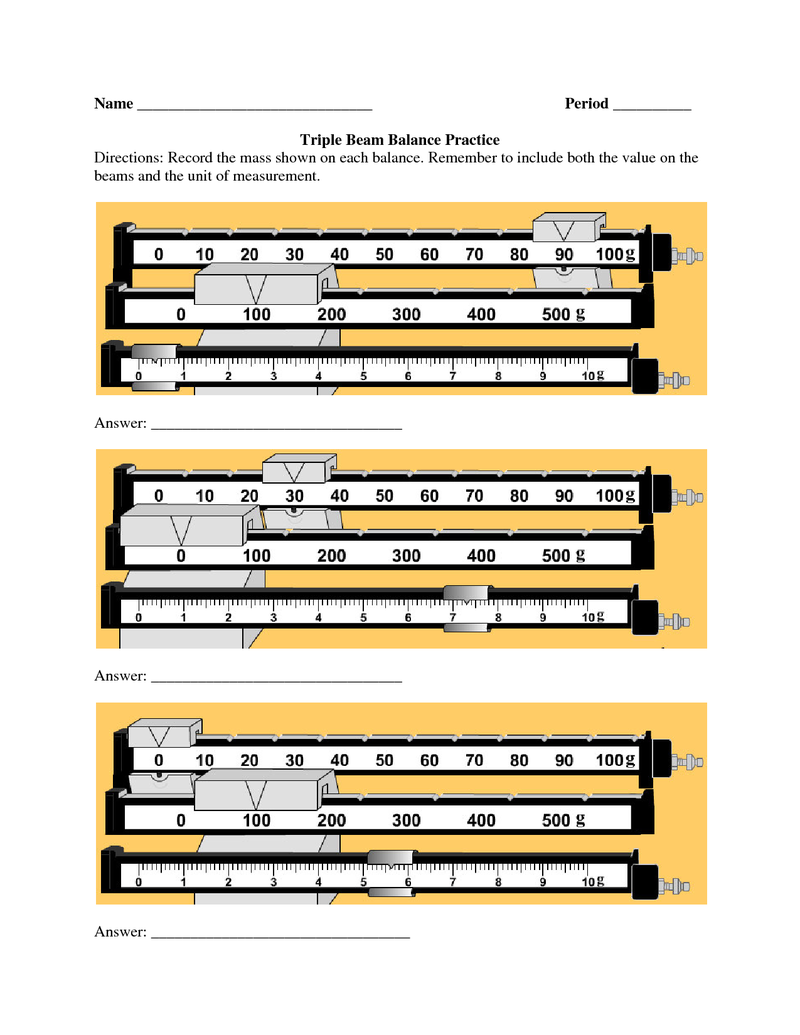 Triple Beam Balance Practice Worksheet