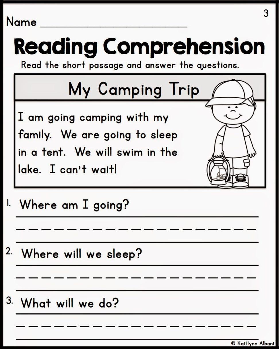 Reading Comprehension Kindergarten Worksheets English For Math