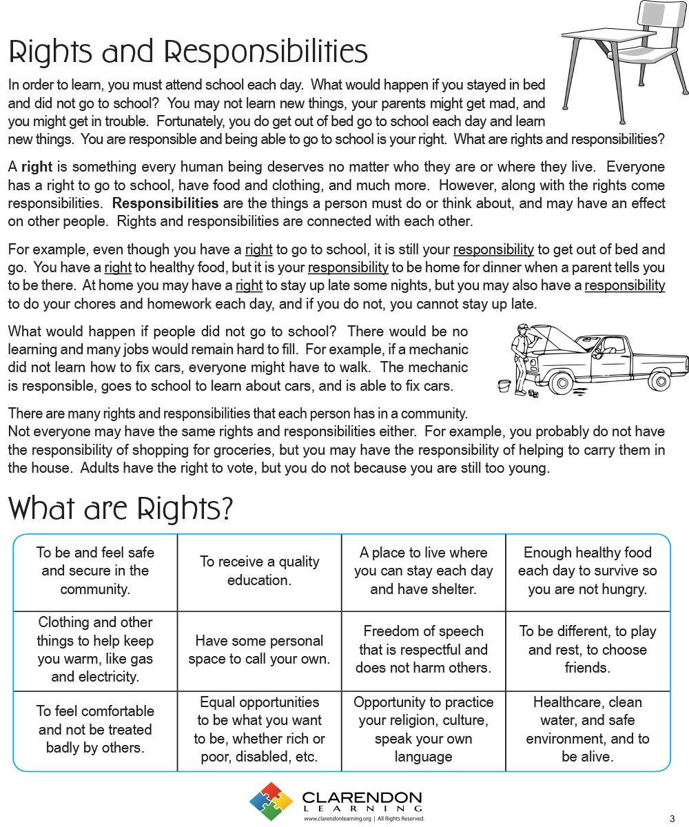 Responsibility For Kids Worksheets