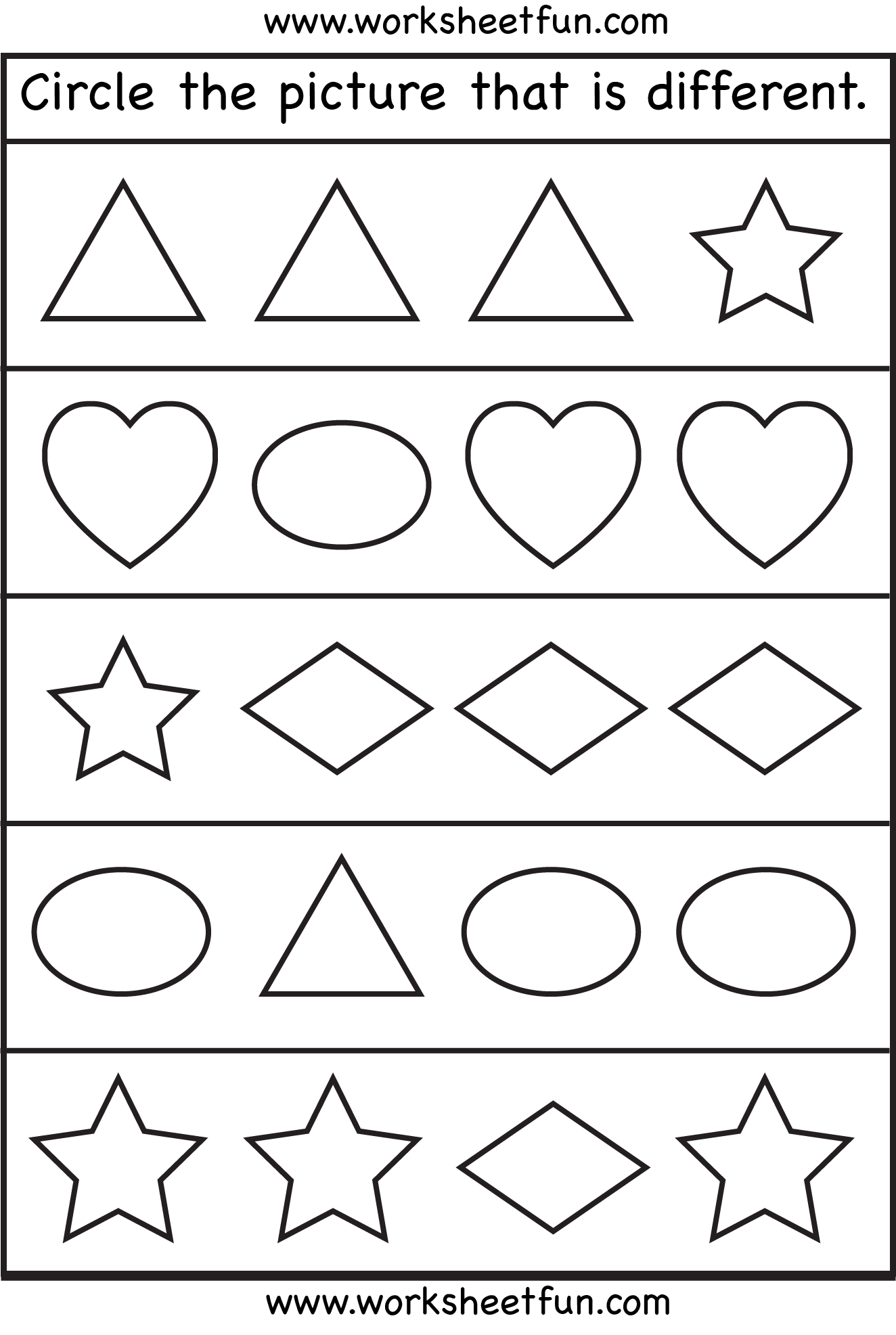 Same And Different Worksheets For Preschool The Best Worksheets