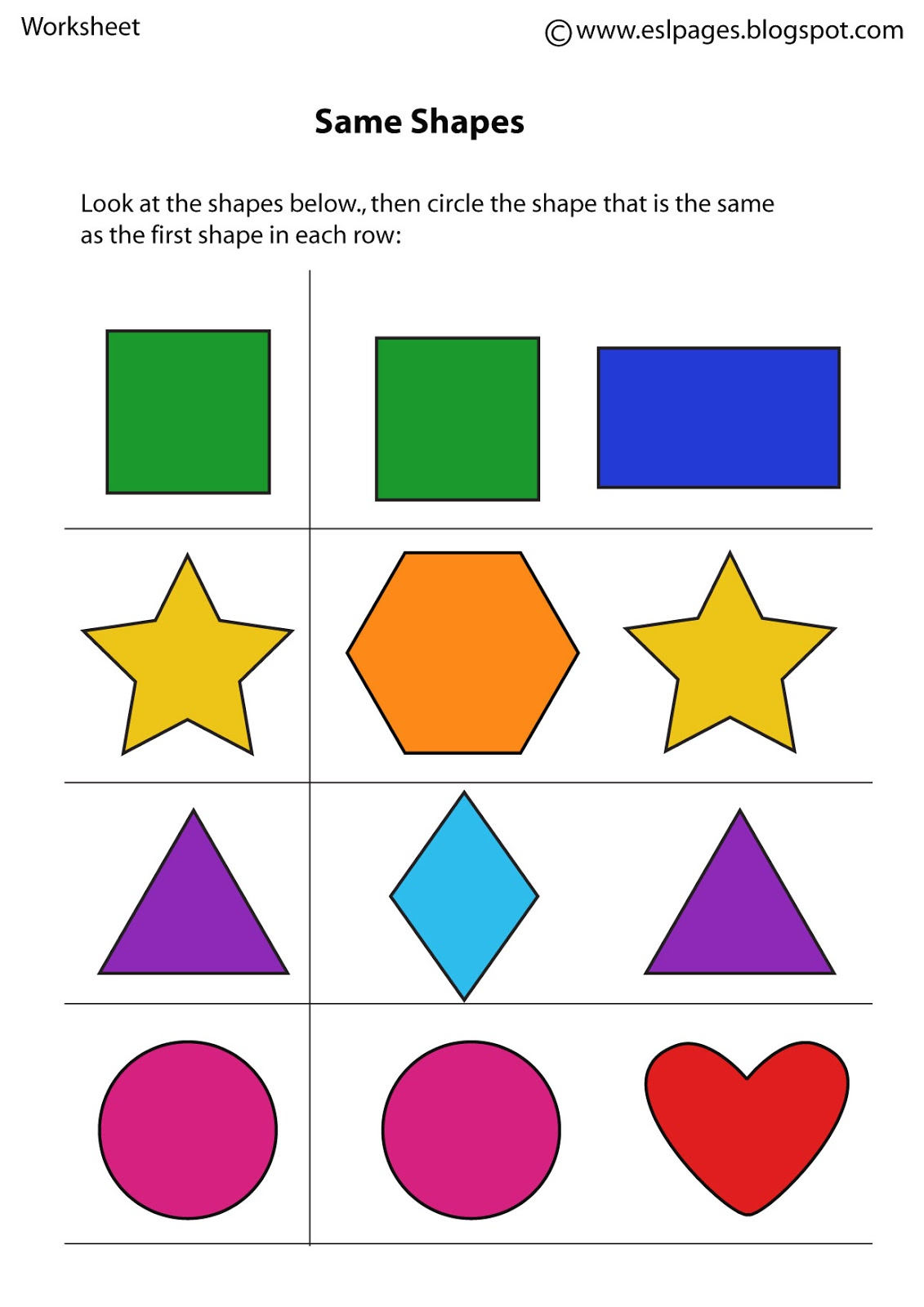 Same And Different Worksheets For Preschoolers Worksheets For All