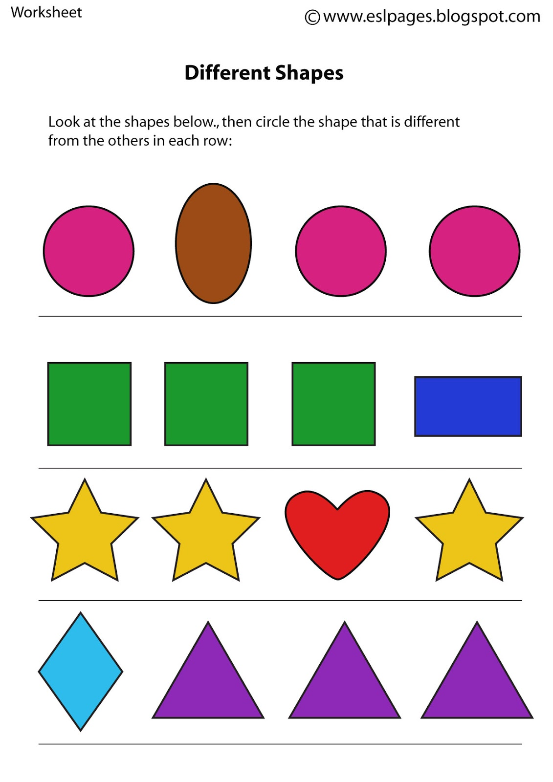 Same And Different Worksheets Preschool Worksheets For All