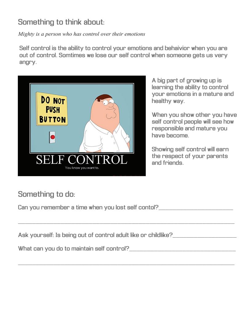 Self Control Worksheet For Kids