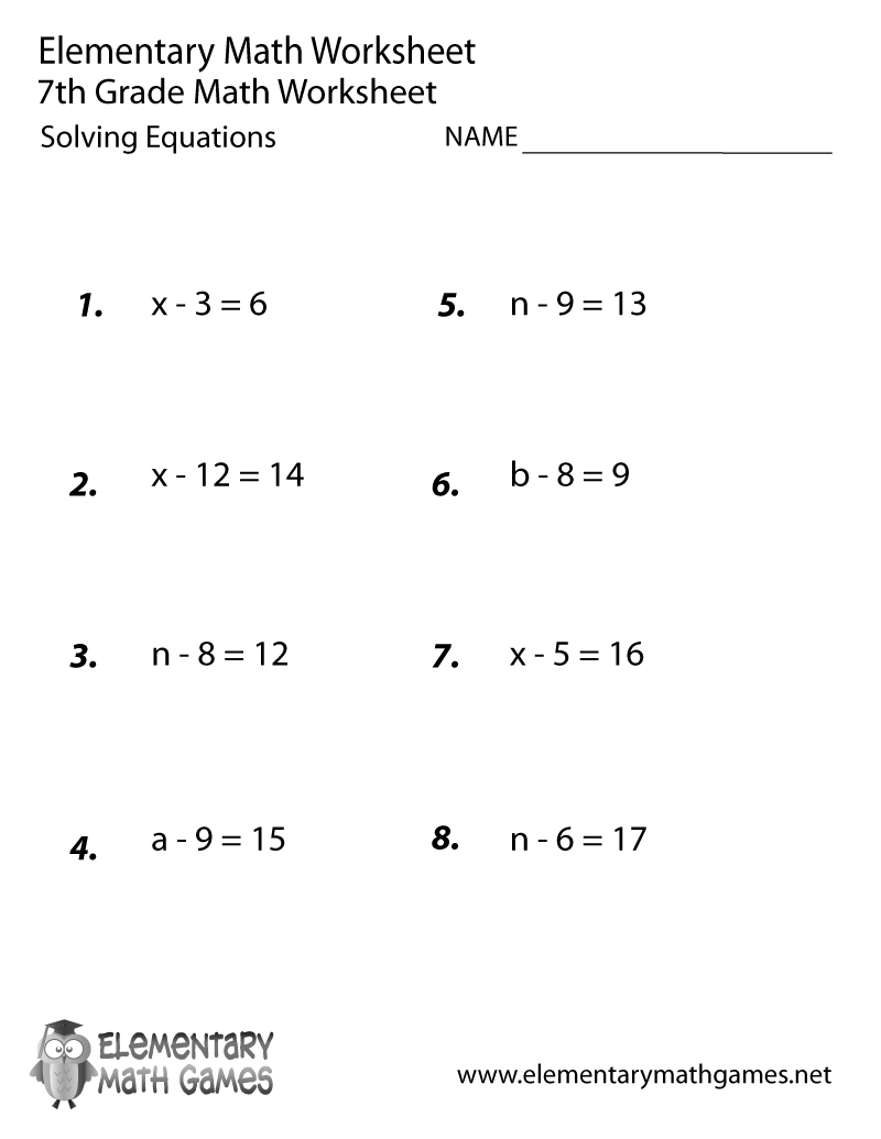 Seventh Grade Solving Equations Worksheet With Fractions Kuta 7th