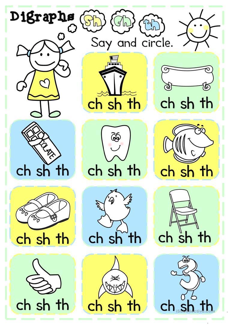 Sh Worksheets For Kindergarten Sound Free Esl Digraphs Math Ch Th
