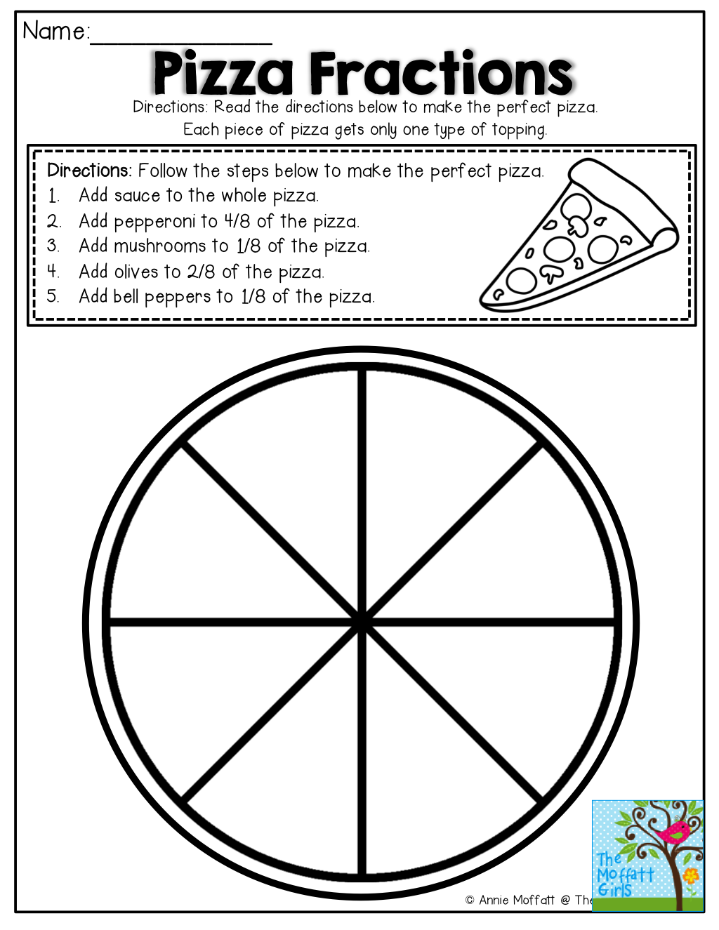 Simple Fractions No Prep Packet Pizzas Math And Pizza Worksheets