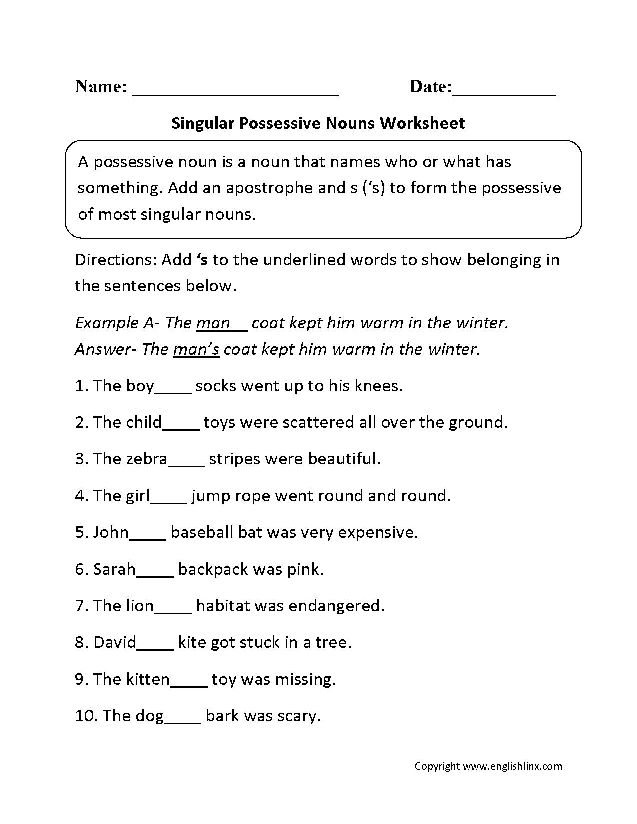 Singular And Plural Possessives Worksheets Worksheets For All