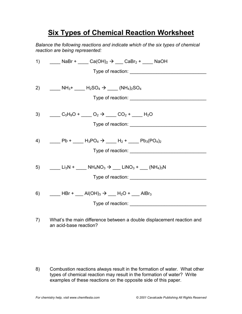 Types Of Chemical Reactions Practice Worksheets