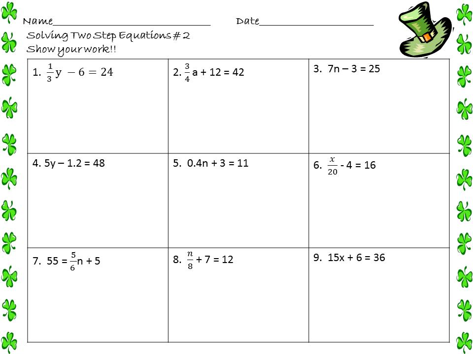 Solving 2 Step Equations Worksheet The Best Worksheets Image
