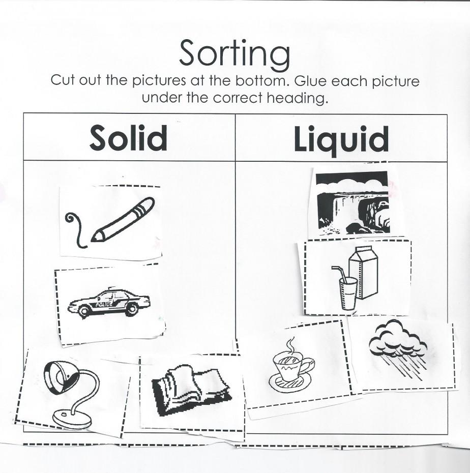 Sorting Solids And Liquids Worksheet
