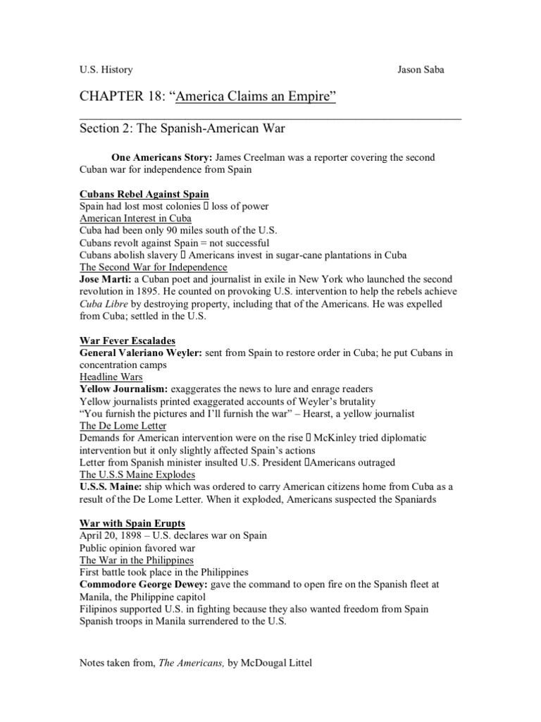Spanish American War Worksheet Worksheets For All