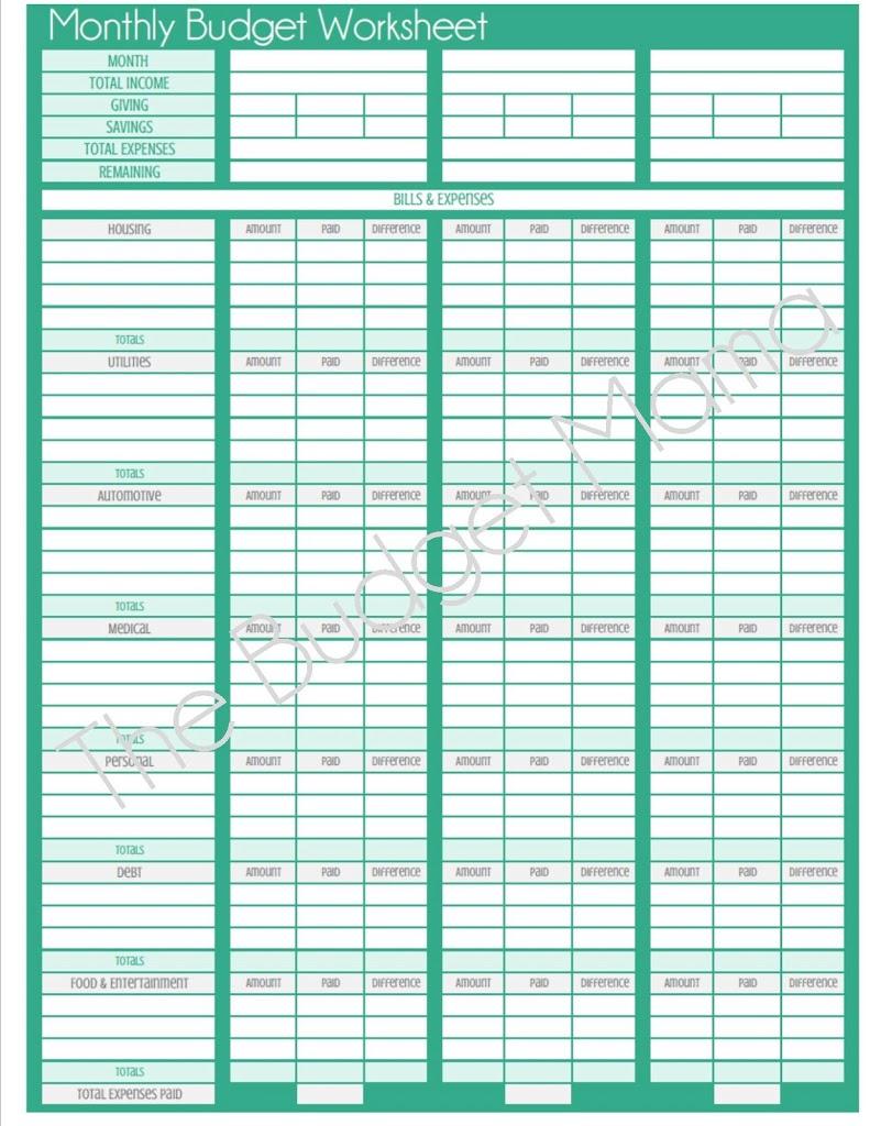 Spreadsheet Pictures Blank Budget Worksheet Printable Dropwin