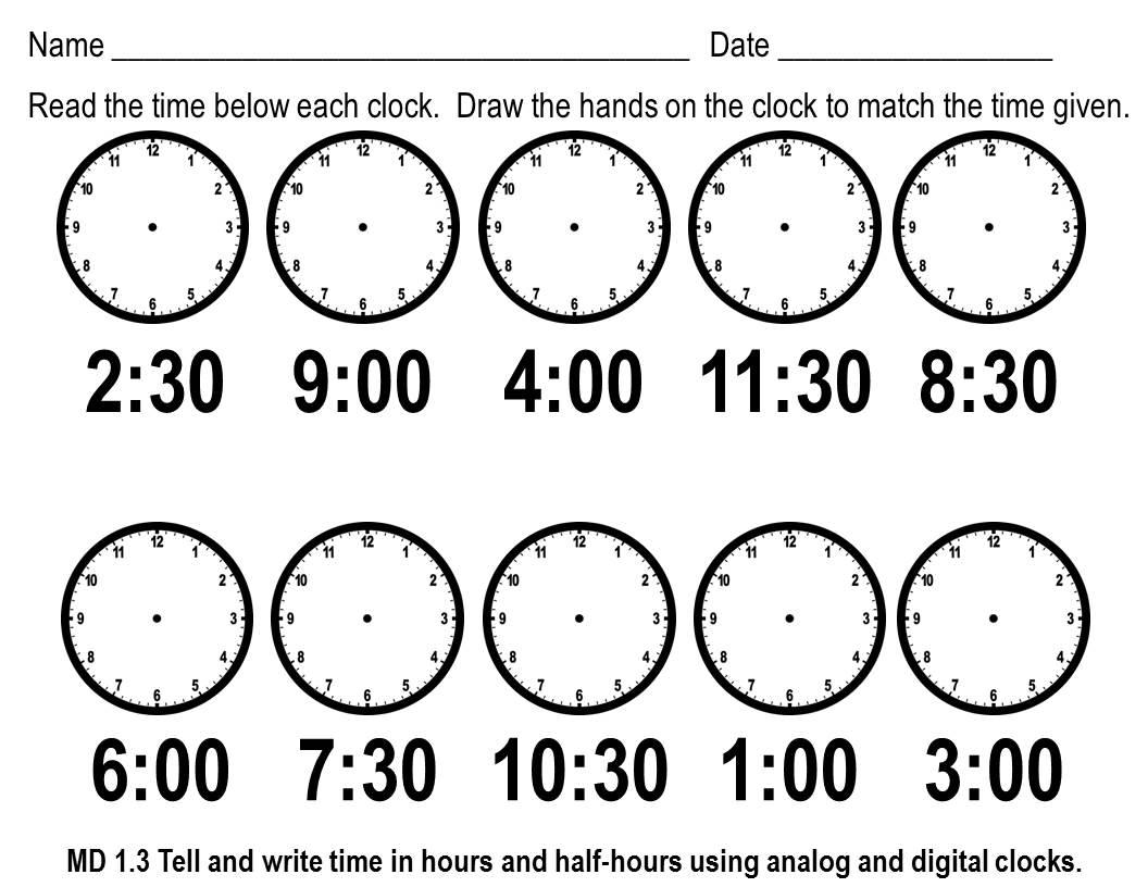 Telling Time Worksheets For Grade 1 Worksheets For All
