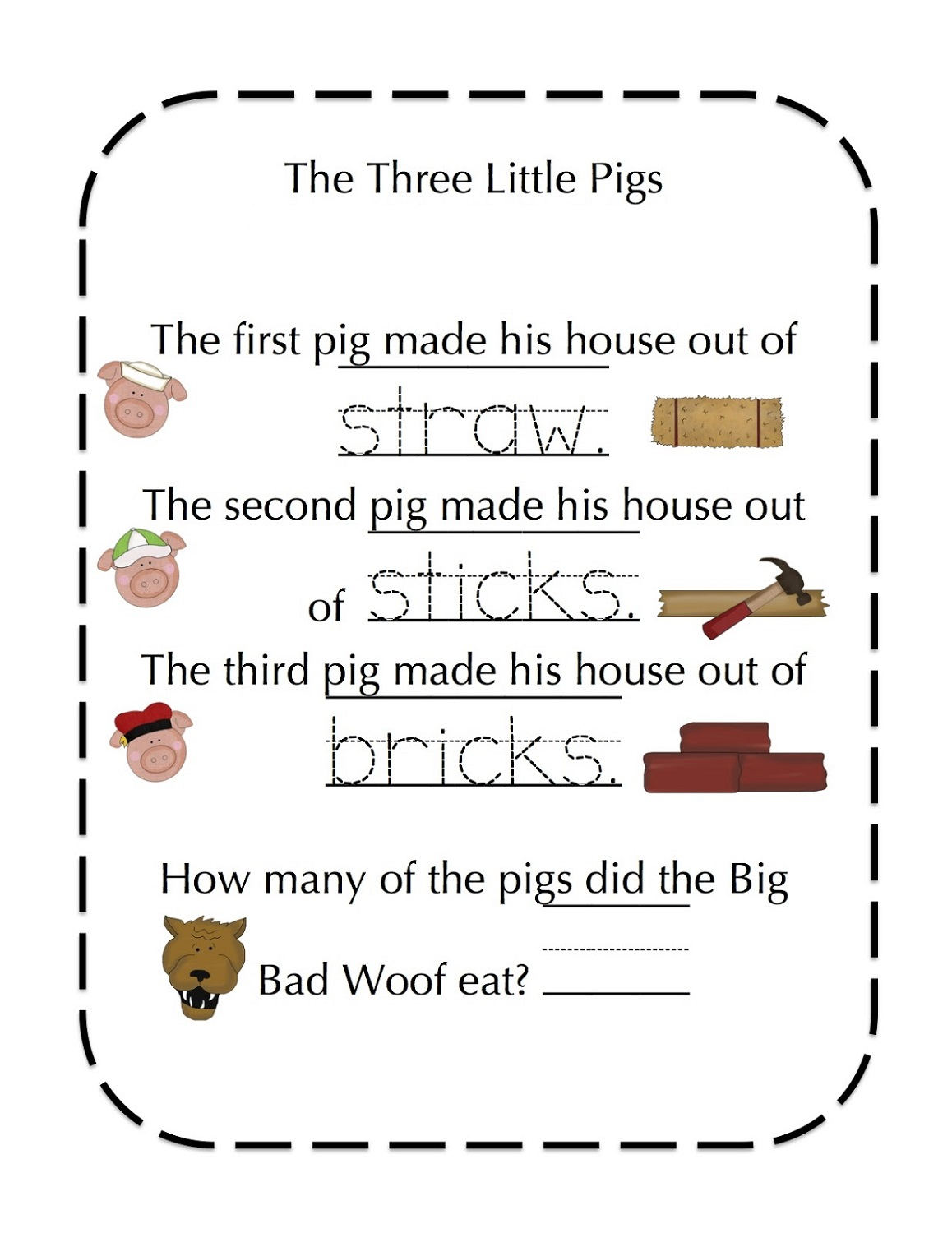 Three Little Pigs Worksheets Worksheets For All