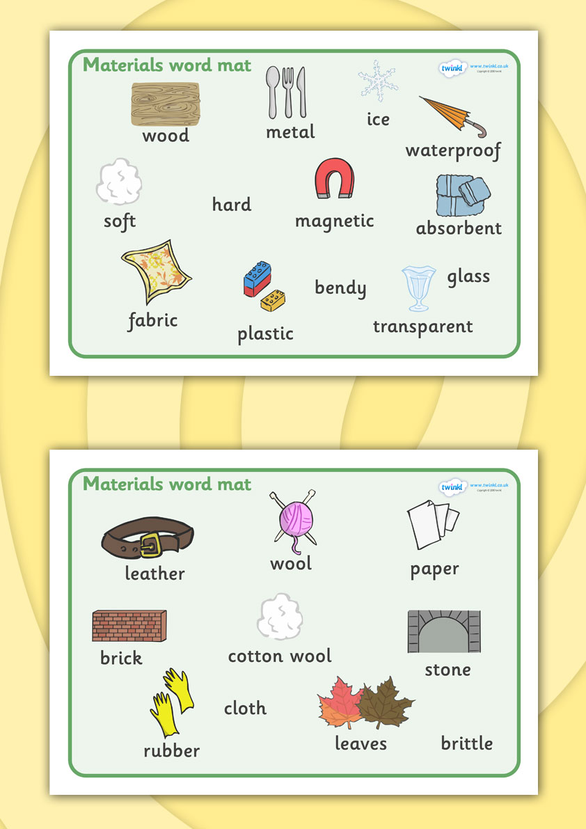 Twinkl Resources    Materials Word Mat    Thousands Of Printable