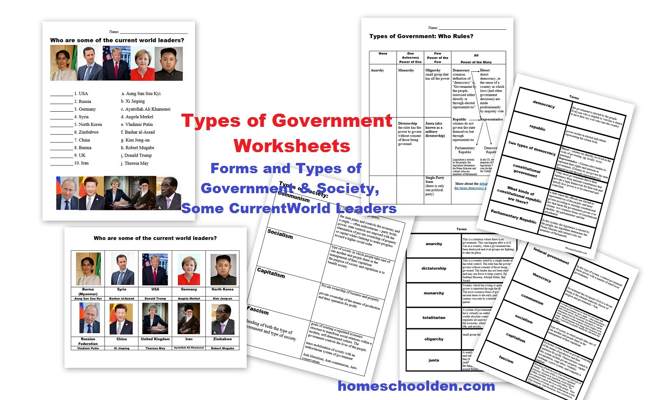 Types Of Governments Worksheets – World Leaders (currently Free
