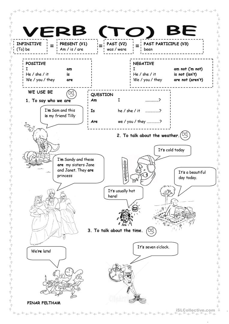 Verb To Be Worksheets For Esl Beginners