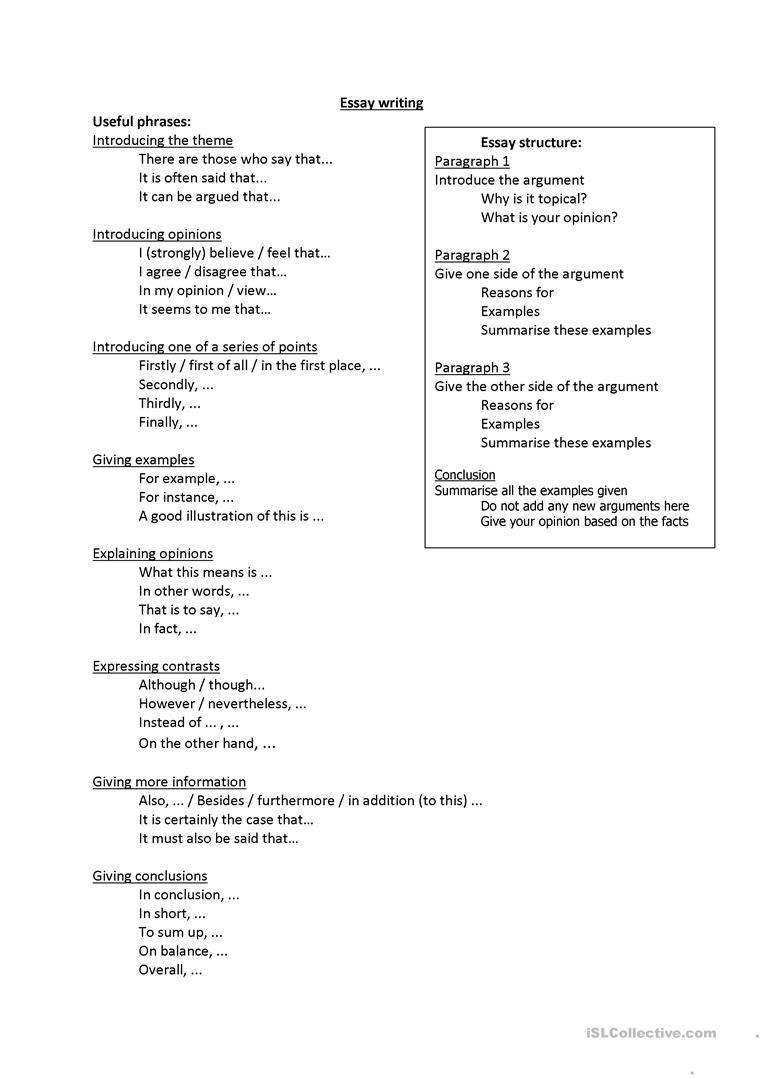 Words For Essay Writing Useful Phrases Full Screen Essential