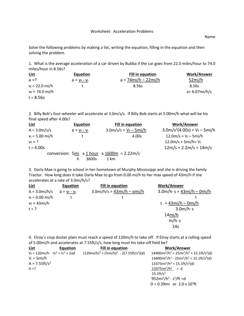 Worksheet  Acceleration Problems Name Solve The Following