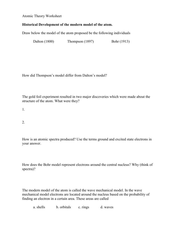 Worksheet  Atomic Theory Worksheet  Grass Fedjp Worksheet Study Site