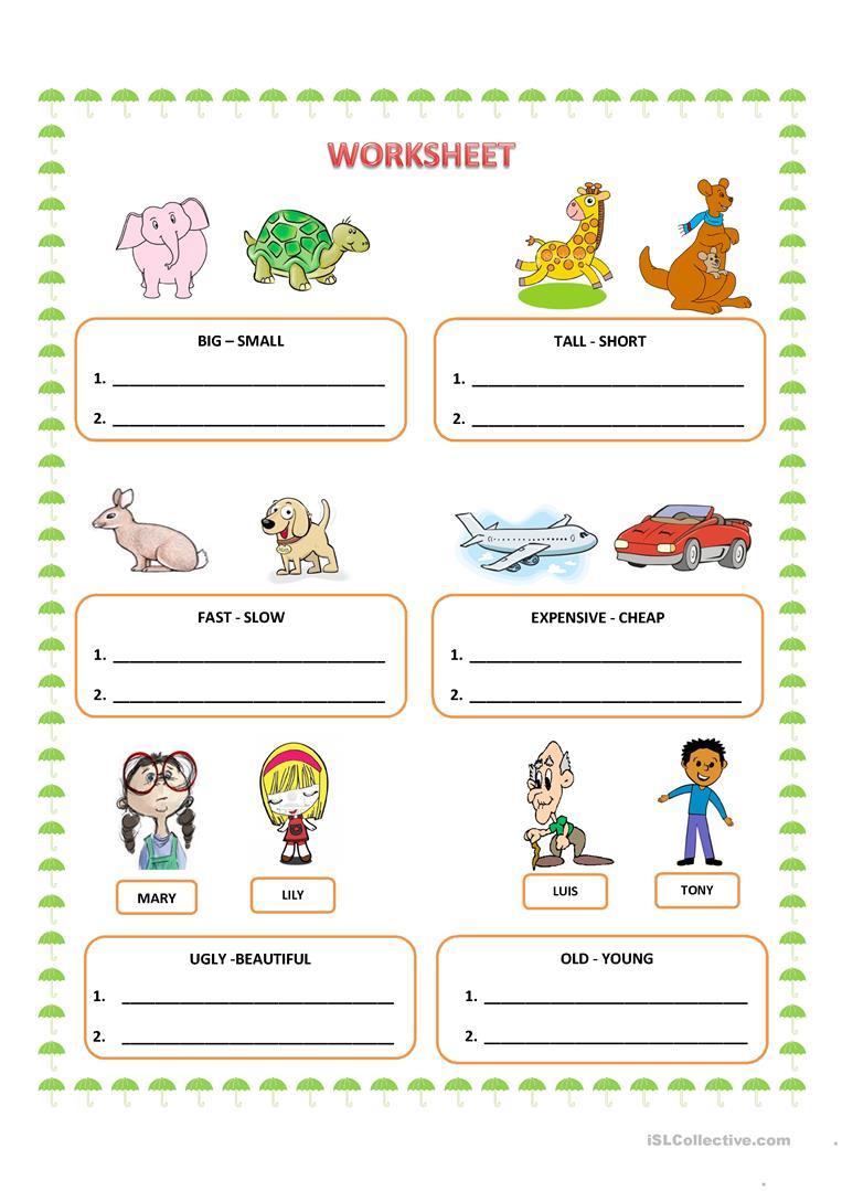 Worksheet  Comparative Adjectives Worksheet  Grass Fedjp Worksheet