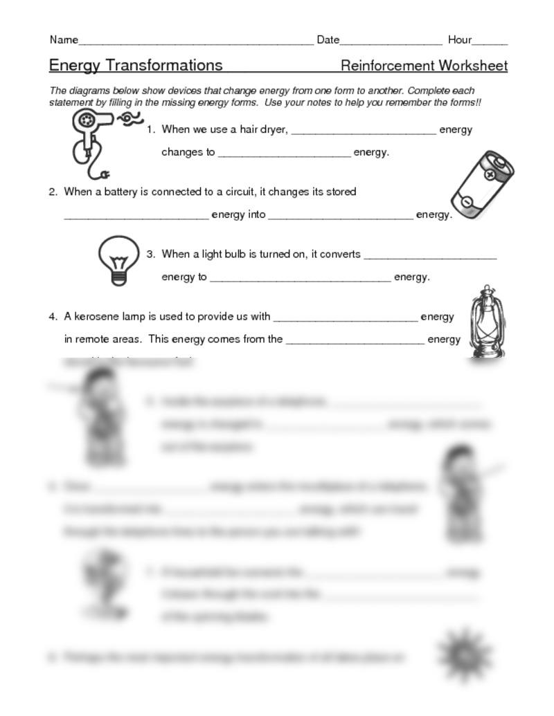Energy Conversion Worksheet Kidz Activities