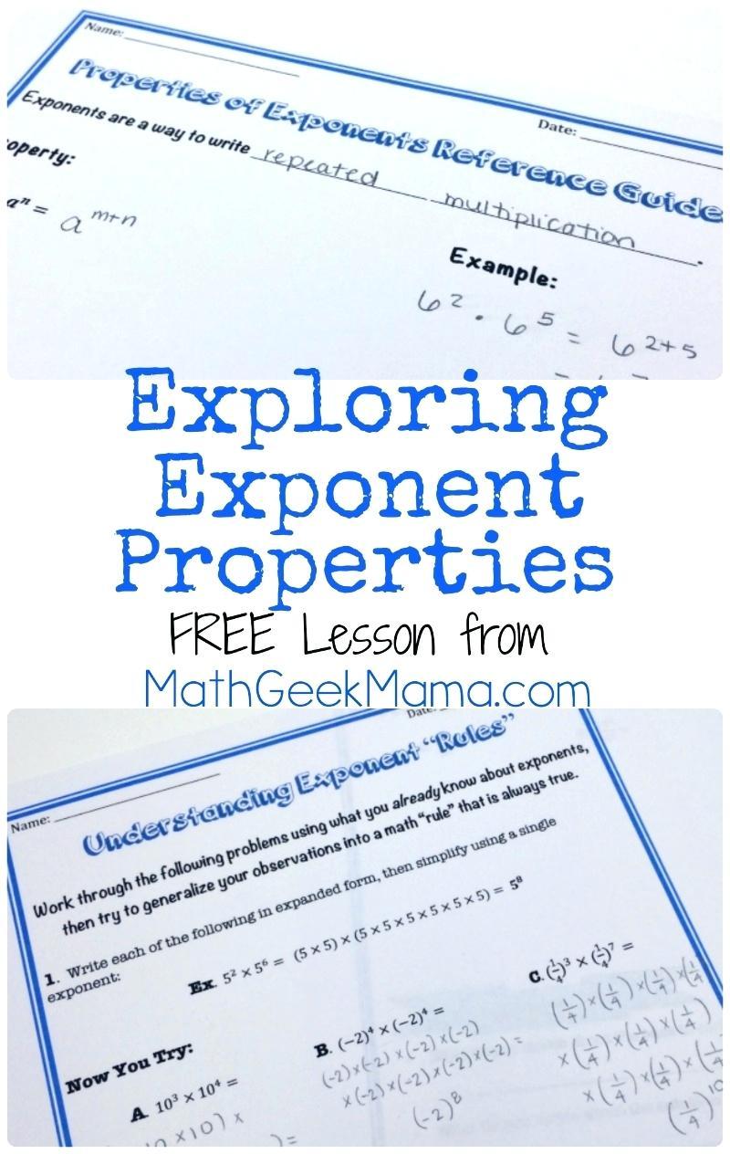 Exponent laws worksheet grade 9