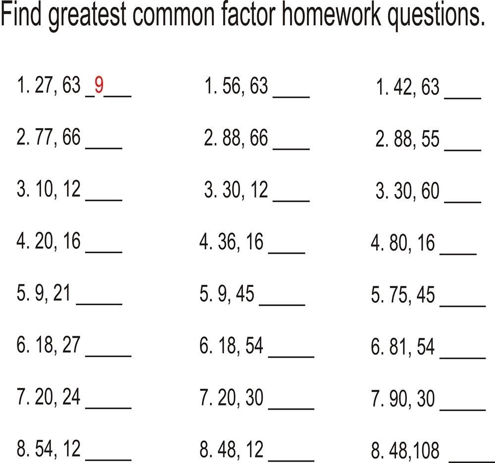 Worksheet  Gcf Worksheets 6th Grade  Brunokone Worksheet Study Site
