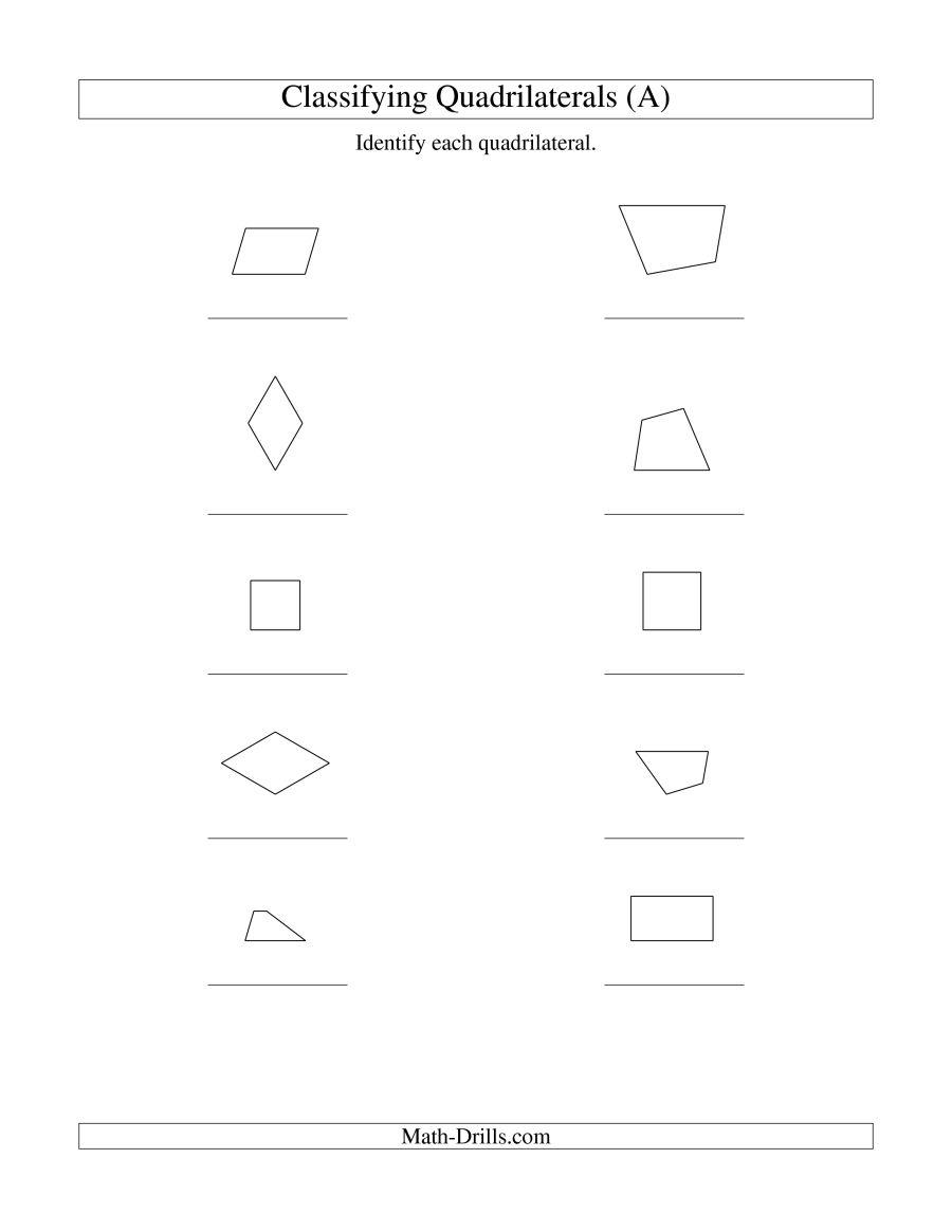 Worksheet  Identifying Quadrilaterals  Grass Fedjp Worksheet Study