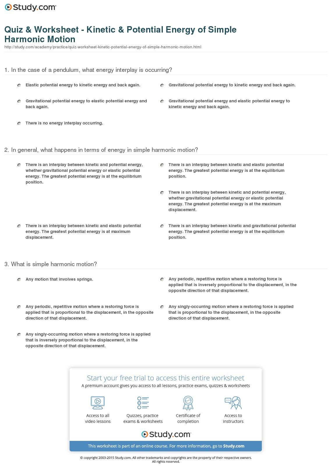 Worksheet  Kinetic Potential Energy Worksheet  Brunokone Worksheet