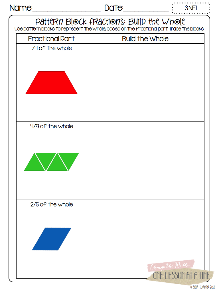 Worksheets Pattern Blocks Worksheet fractions with pattern blocks worksheets and worksheet brunokone study site