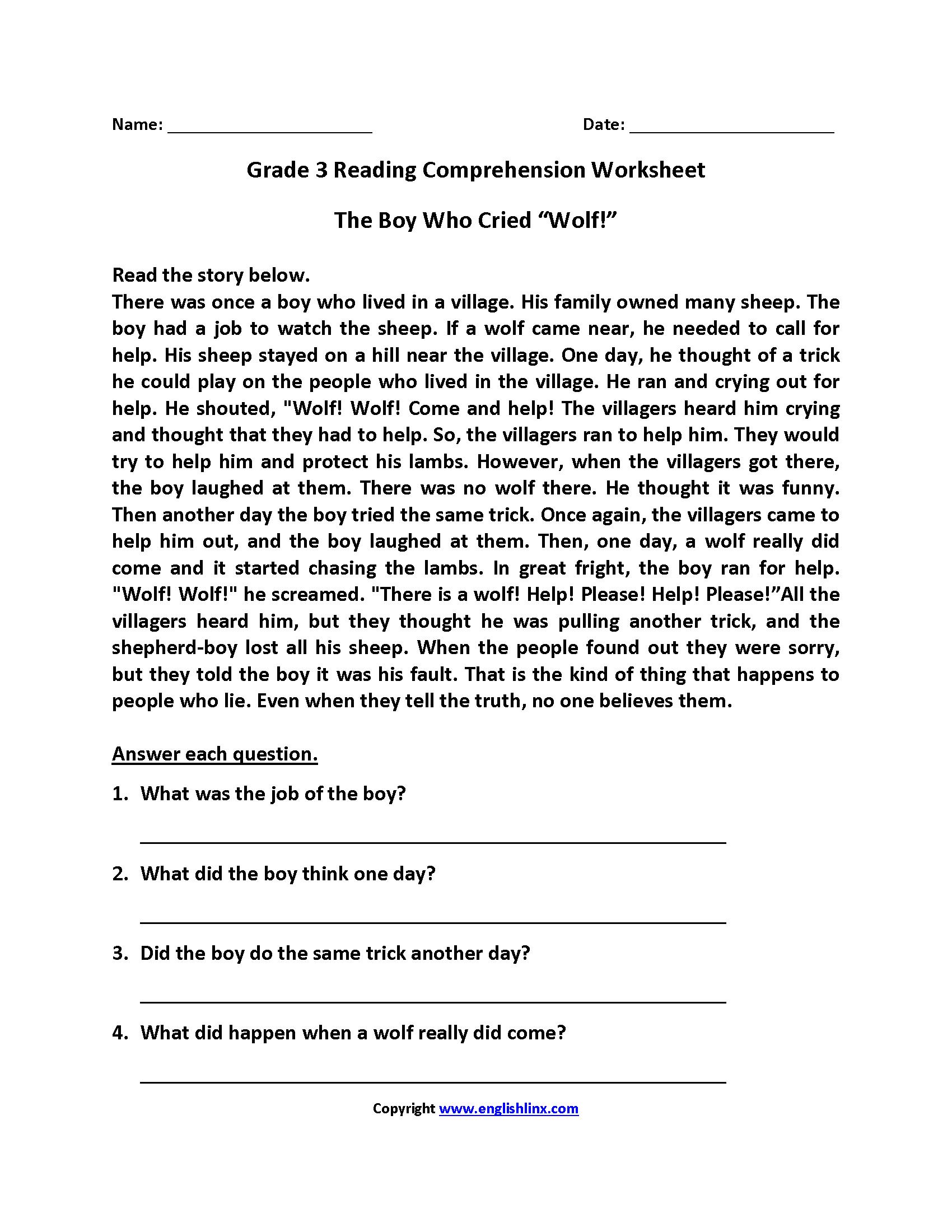 Worksheet  Reading Comprehension Worksheet 3rd Grade  Grass Fedjp