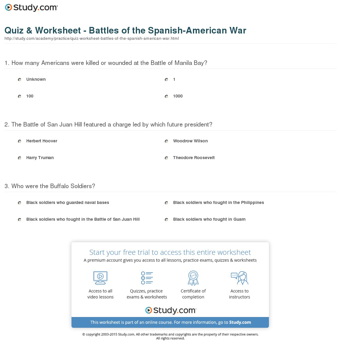 Worksheet  Spanish American War Worksheet  Grass Fedjp Worksheet