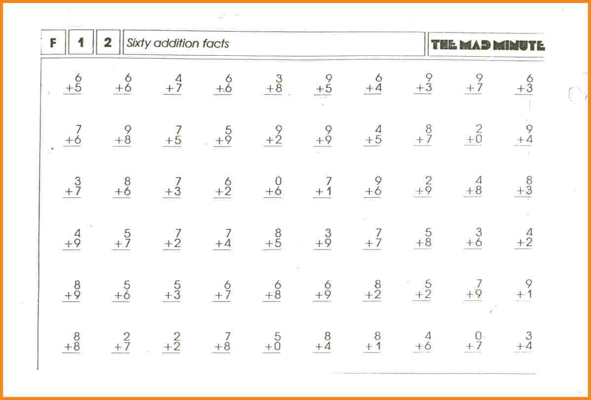 Worksheet Mad Minute Math Addition Worksheets Division Printable