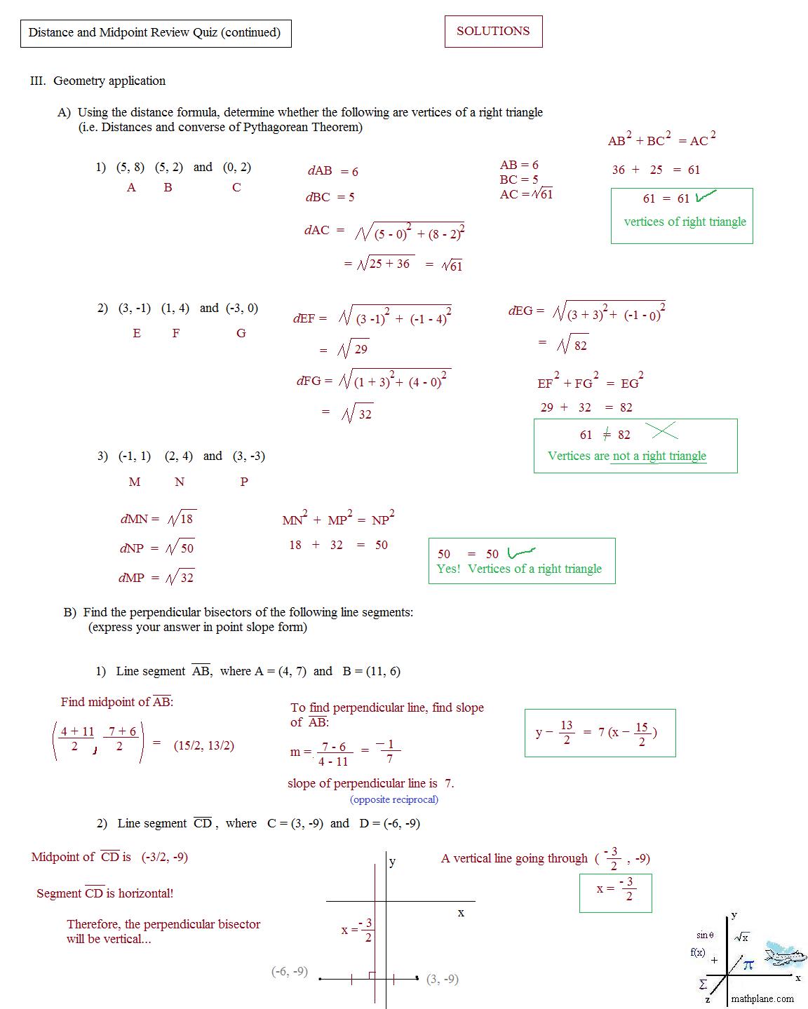 Worksheet Templates   Finding Distance Using Pythagorean Theorem