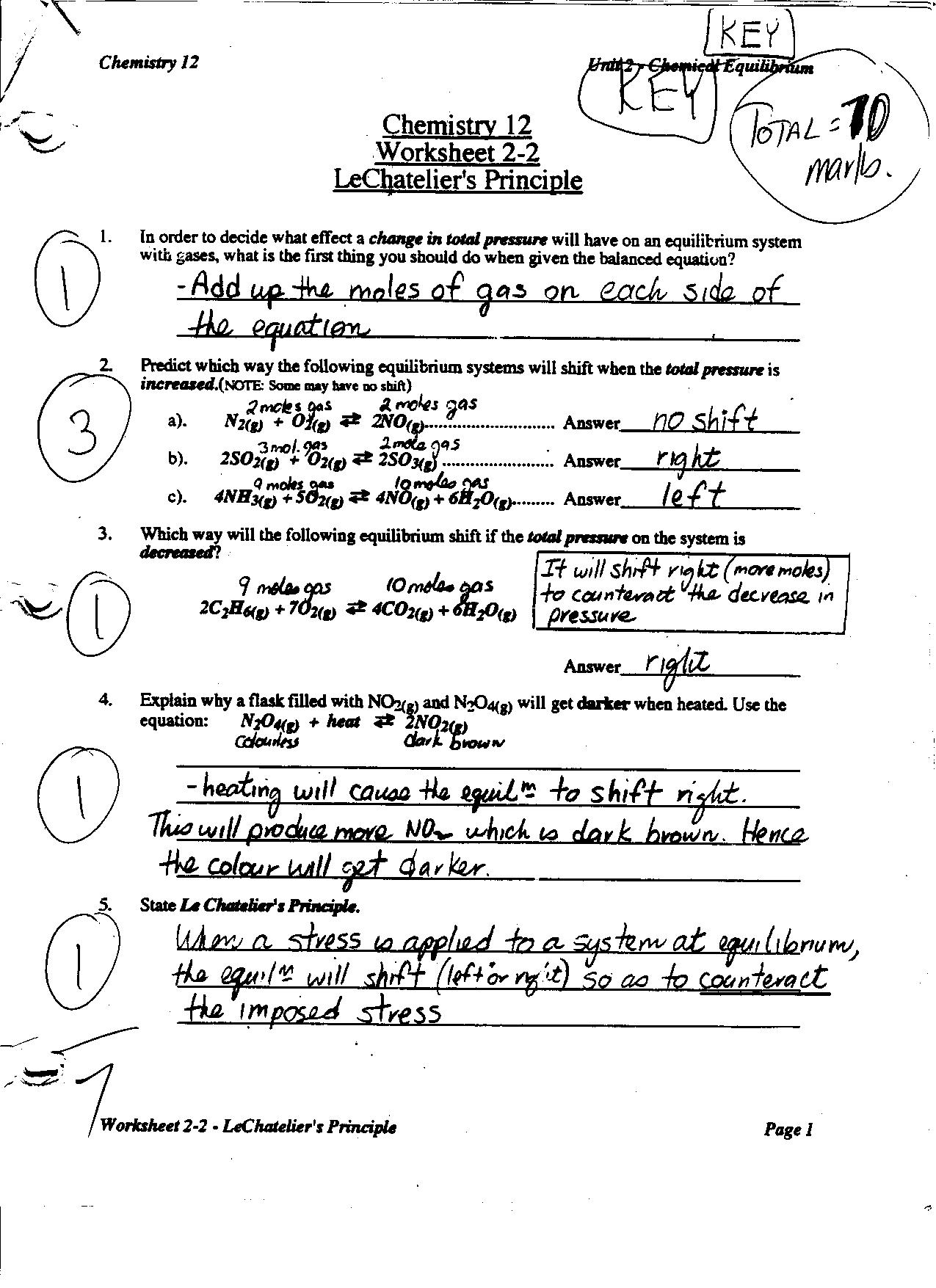Worksheets  Chemical Equilibrium Worksheet Answers