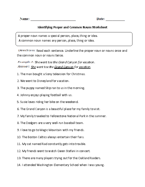 Worksheets About Common Nouns