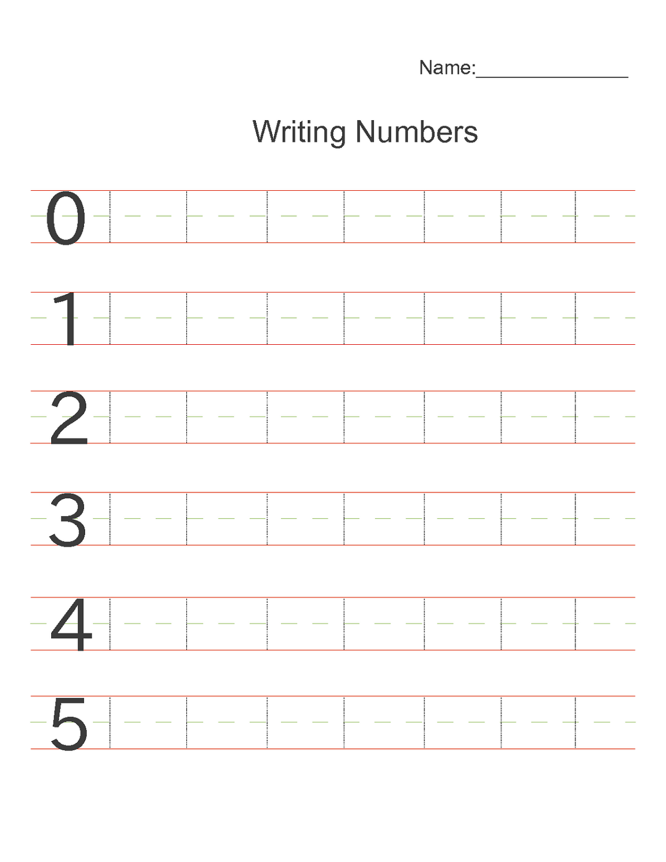 Writing Number Worksheets For Kindergarten