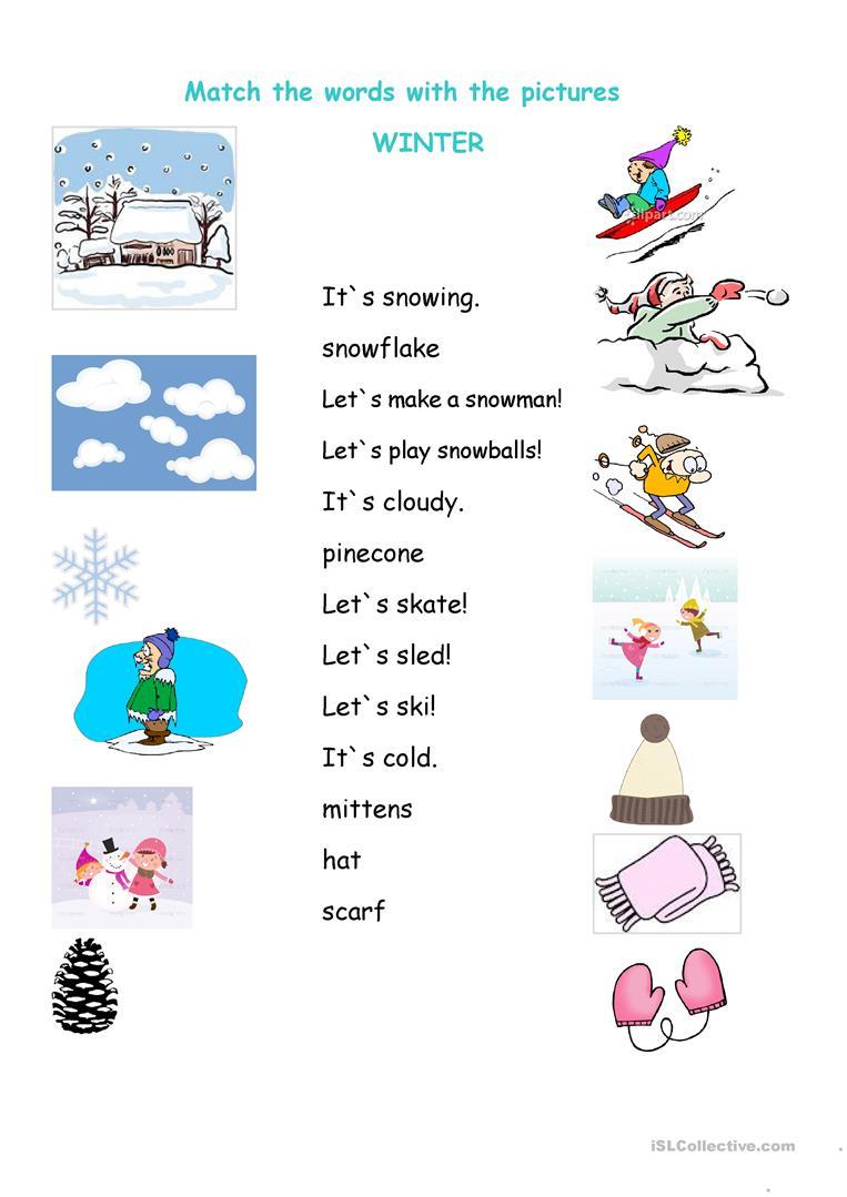 109 Free Esl Winter Worksheets