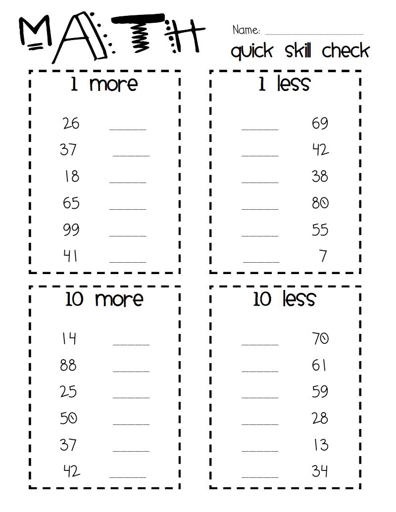 10 More, 10 Less, 1 More, 1 Less Pdf