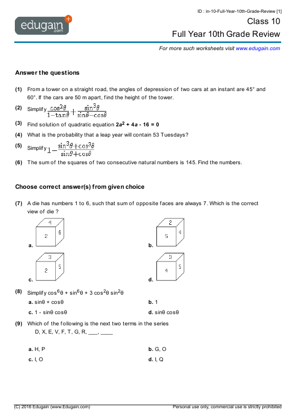 10th Grade Worksheets The Best Worksheets Image Collection