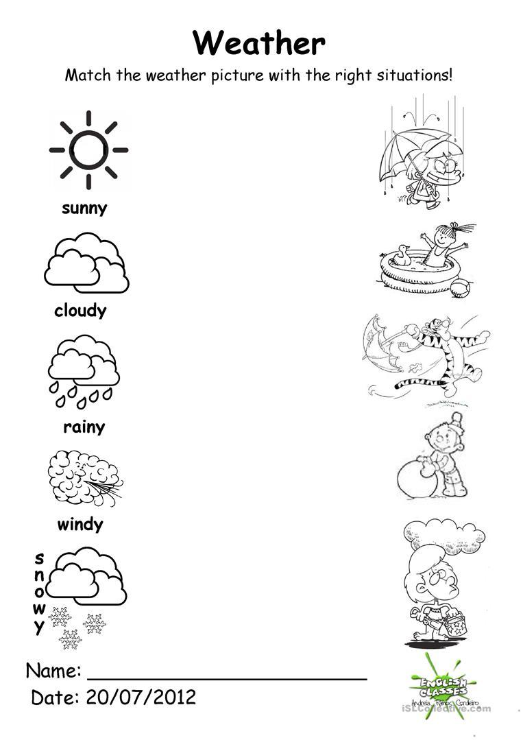 116 Free Esl Weather Worksheets For Kindergartners And Nursery