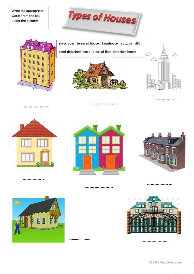 12 Free Esl Types Of Houses Worksheets